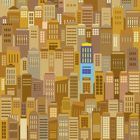 Cityscape With Outstanding Building Vector Illustration Illustration