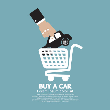 Car In Shopping Cart Buy a Car Concept Illustration