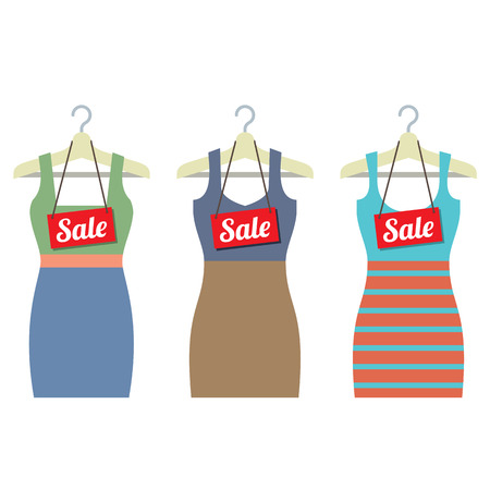 hangers: Woman Clothes On Hanger With Sale Tags Vector Illustration