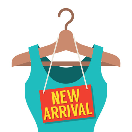 Woman Clothes On Hanger With New Arrival Tag Vector Illustration Vector