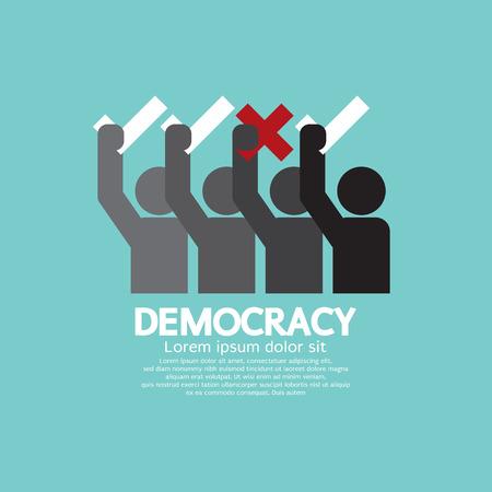 democracia: Gente Mostrando Voto Sí y no Ilustración Democracia Concept Vector Vectores