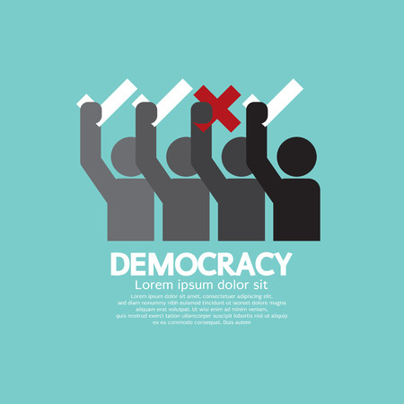 democracy: People Showing Vote Yes And No Democracy Concept Vector Illustration