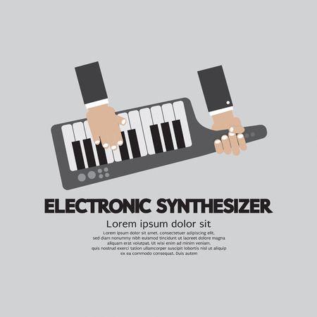 synthesizer: Musician Playing Electronic Synthesizer Flat Design Vector Illustration