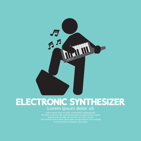 synthesizer: Musician Playing An Electronic Synthesizer Vector Illustration