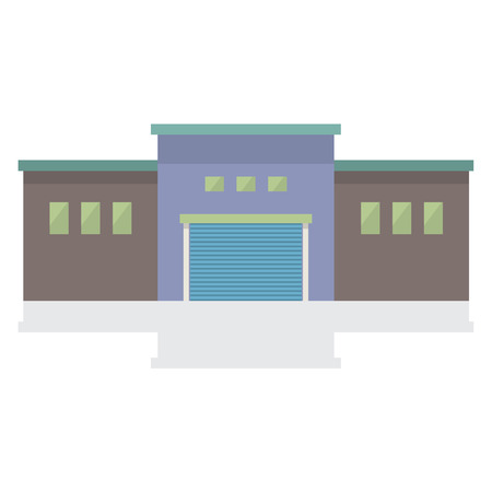 factory floor: Single Factory Building On White Background Vector Illustration