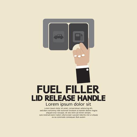 filler: Fuel Filler Lid Release Handle Vector Illustration