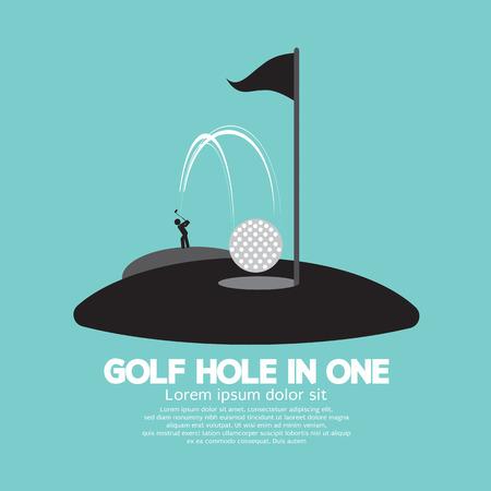 pelota de golf: Agujero del golf en Uno Ilustraci�n deporte S�mbolo Vector
