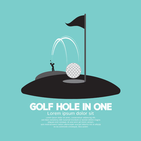 one people: Golf Hole in One Sport Symbol Vector Illustration