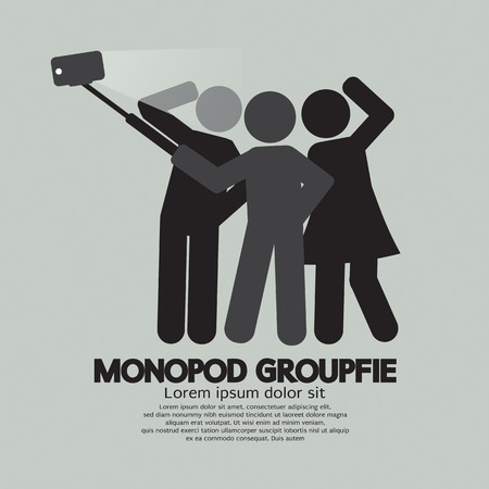 selfie: Groupfie Symbol, A Group Selfie Using Monopod Vector Illustration Illustration