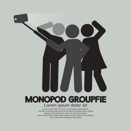 selfie: Groupfie Symbol, A Group Selfie Using Monopod Vector Illustration Illustration