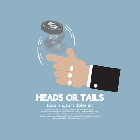 m�nzenwerfen: Kopf oder Zahl werfen das Los Konzept Vector Illustration Illustration