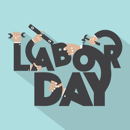 Concept Of Labor Day Typography Design Vector Illustration Stock Illustratie