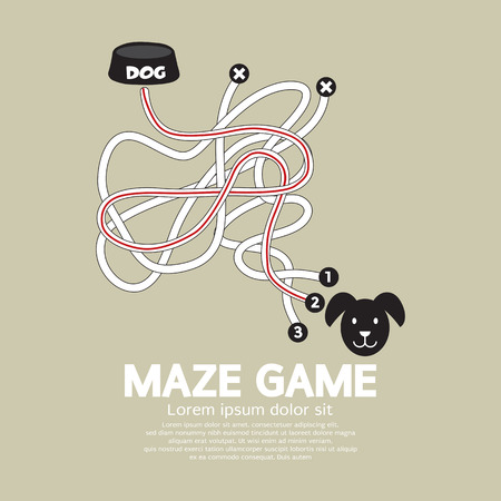 bowl game: Maze Game With Dog And Bowl Vector Illustration