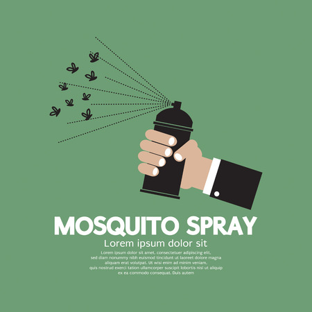 malaria: Mosquito Spray In hand Vector Illustration