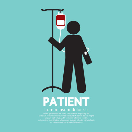 saline: Patient With Saline Solution Graphic Symbol Vector Illustration Illustration