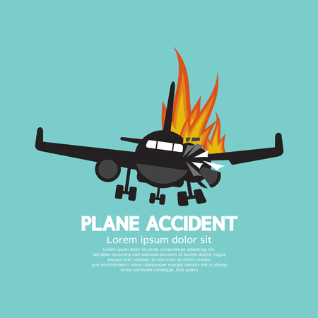doomed: Doomed Plane Accident On Fire Vector Illustration