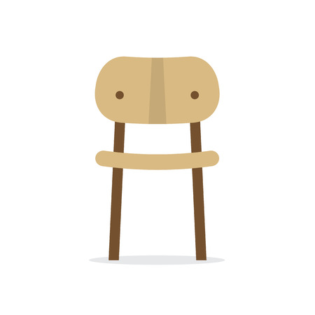 chair wooden: Single Wooden Chair On White Background Vector Illustration