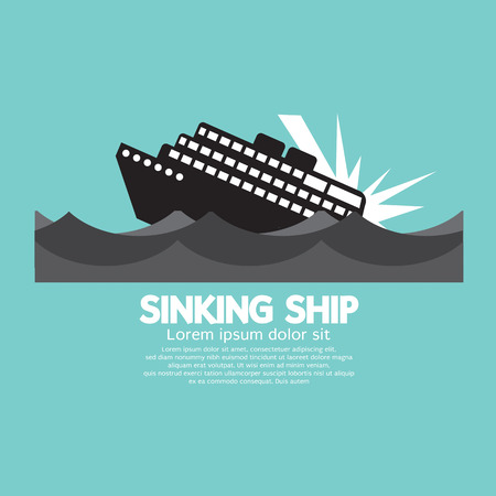 waterway: Sinking Ship Black Graphic Vector Illustration Illustration
