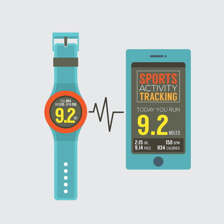 synchronize: Sport Watch With Smartphone Activity Tracking Synchronize Illustration