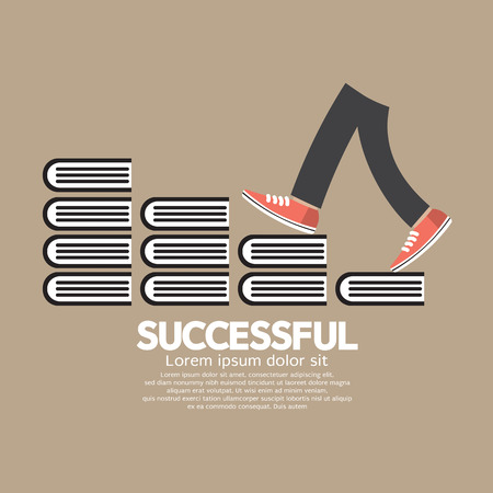 Step Up Walking On Books Successful Concept Vector Illustration Vector