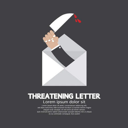 threatening: Hand With Knife Threatening Letter Concept Vector Illustration