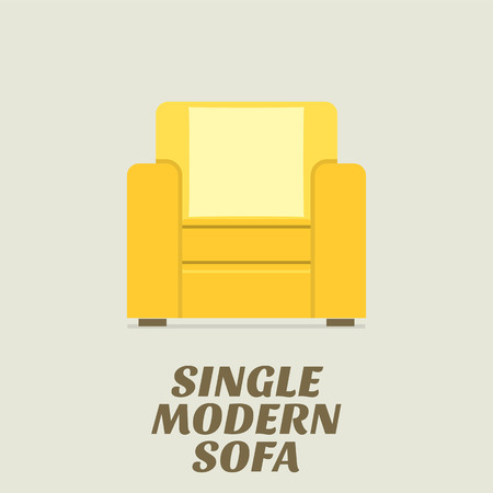sofa: Single Modern Sofa Flat Design Vector Illustration