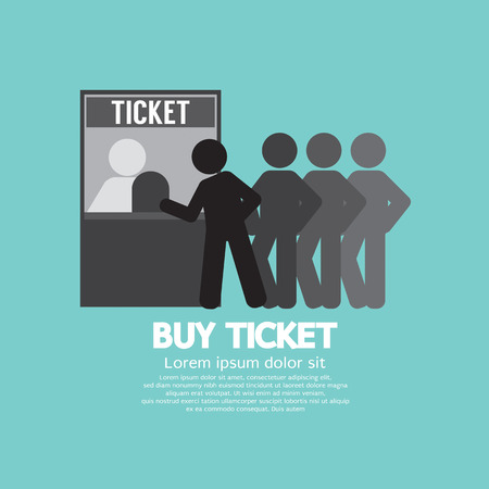 events: People Buy Ticket At Service Booth Vector Illustration