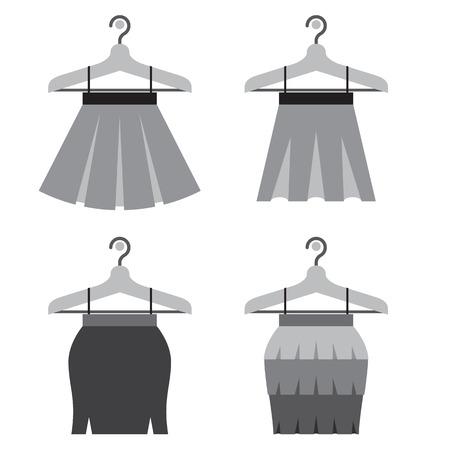 skirts: Black Women Skirts With Hangers Vector Illustration