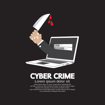 scammer: Knife In Hand Cyber Crime Concept Vector Illustration