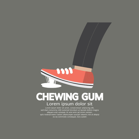 walking shoes: Foot Stuck Into Chewing Gum On Street Vector Illustration Illustration