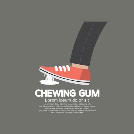 gums: Foot Stuck Into Chewing Gum On Street Vector Illustration Illustration