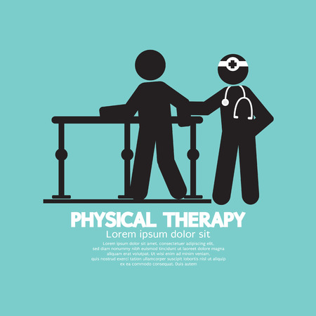 patient doctor: Black Symbol Physical Therapy Vector Illustration