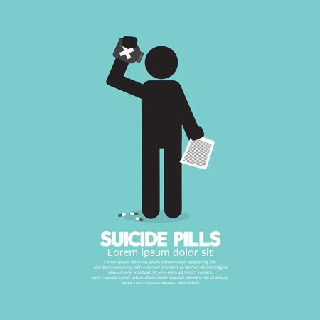 overdose: Black Symbol Suicide Pills Vector Illustration