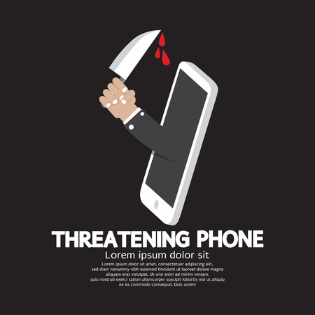 threatening: Hand With Knife Threatening Phone Concept Vector Illustration