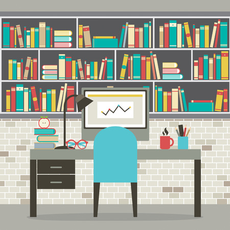 Modern Flat Design Workplace With Bookcase Vector Illustration
