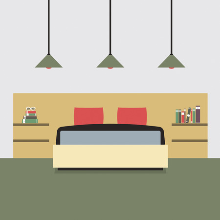 bedroom wall: Flat Design Double  Bedroom Vector Illustration