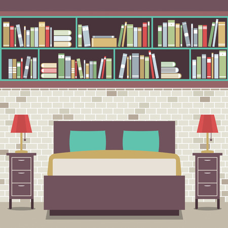 bedroom wall: Modern Flat Design Twin Bedroom Vector Illustration