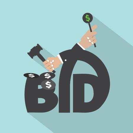 bid�: Auction Or Bid Typography Design Vector Illustration