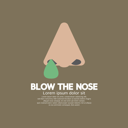 flat nose: Blow The Nose Flat Design Vector Illustration