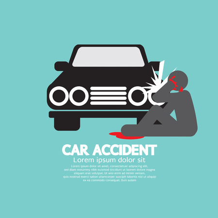 collision: Car Accident Knocked Down A Man Vector Illustration