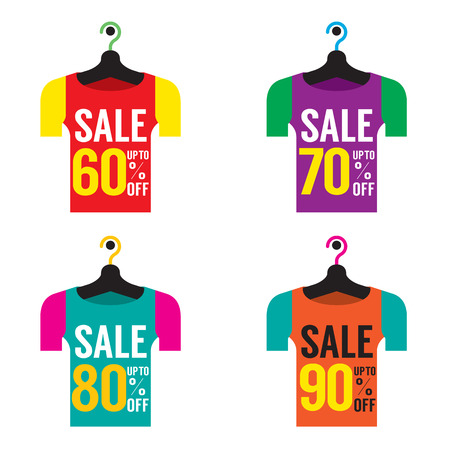 sixty: Clothes Hangers With Sale Tag Vector Illustration Illustration