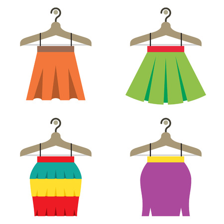 skirts: Colorful Women Skirts With Hangers Vector Illustration