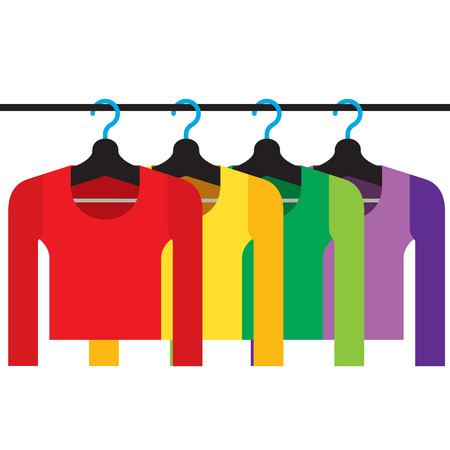 clothes hanger: Colorful Long Sleeves Shirts With Hangers Vector Illustration