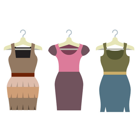 habiliment: Set Of Women Clothes With Hangers Vector Illustration