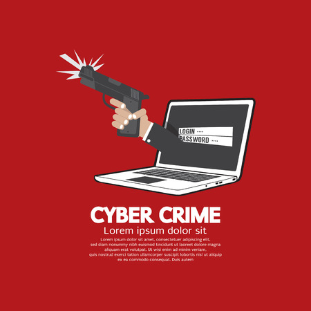 scammer: Gun In Hand Cyber Crime Concept Vector Illustration