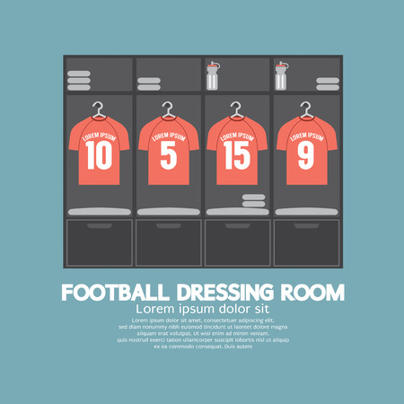shirts on hangers: Football Or Soccer Dressing Room Vector Illustration