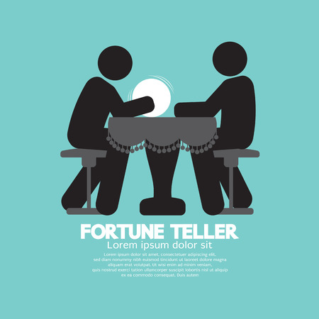 foretell: Black Symbol Fortune Teller With Crystal Ball Vector Illustration