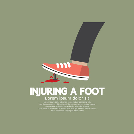injuring: Injuring A Foot By Nail Vector Illustration