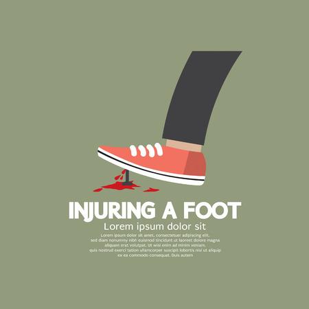 tacks: Injuring A Foot By Nail Vector Illustration