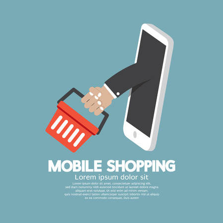 Shopping Basket Flying Out Mobile Phone Vector Illustration Stock Illustratie